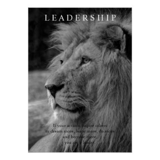 Black & White Stylish Motivational Leadership Lion Poster