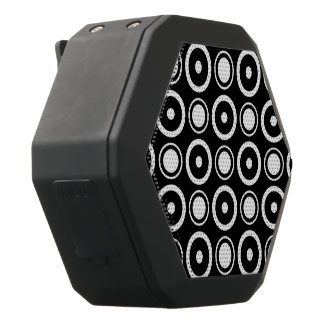 Black White stylish polka dots black background Black Boombot Rex Bluetooth Speaker