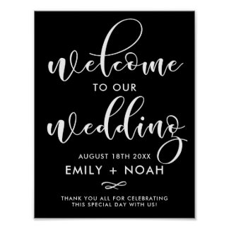 Black & White Stylish Script Welcome Wedding Sign Poster