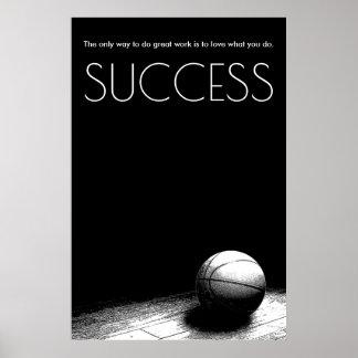 Black White Success Motivational Basketball Poster