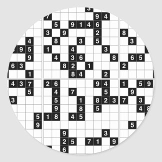 black white sudoku round sticker