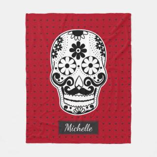 Black & White Sugar Skull Micro Heart Red Fleece Blanket