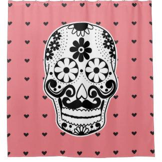 Black & White Sugar Skull Micro Heart Shower Curtain