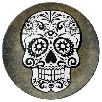 Black & White Sugar Skull Slate Plate