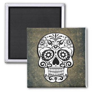 Black & White Sugar Skull Slate Square Magnet