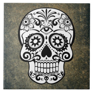 Black & White Sugar Skull Slate Tile