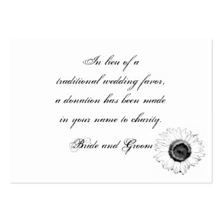 Black White Sunflower Wedding Charity Favor Card Pack Of Chubby Business Cards