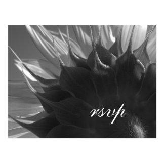 Black & White Sunflower Wedding RSVP Postcard