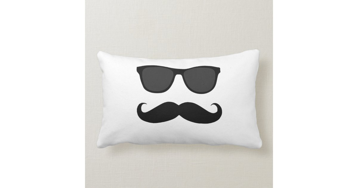 Black White Sunglasses and Moustache Lumbar Pillow