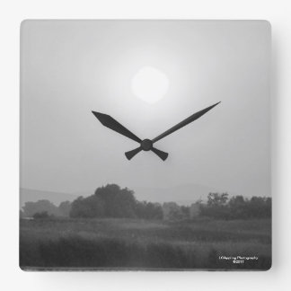 Black & White Sunset Square Wall Clock