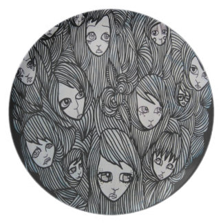black & white surreal scalp sisters original art dinner plate