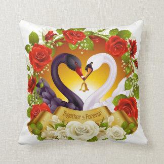 Black white Swan-&-flowers  Polyester Throw Pillow