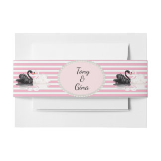 Black & White Swans Striped Wedding Belly Bands Invitation Belly Band
