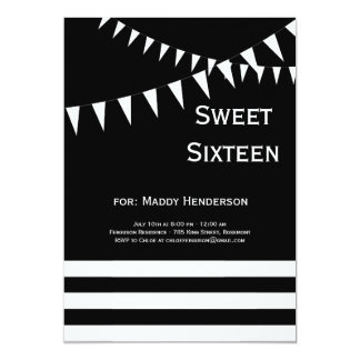 Black & White Sweet Sixteen Invitation