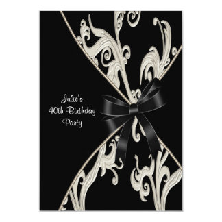 Black White Swirl 40th Birthday Party Invitation