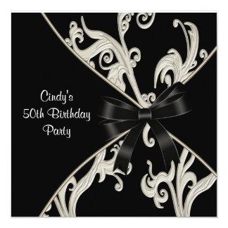 Black White Swirl  50th Birthday Party 13 Cm X 13 Cm Square Invitation Card