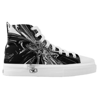 Black & White Swirl Pattern High Tops Printed Shoes