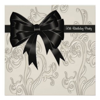 Black White Swirl Womans 50th Birthday Party Invitation