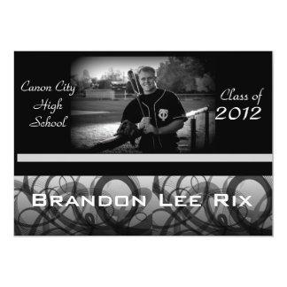 Black & White Swirls Graduation Announcement
