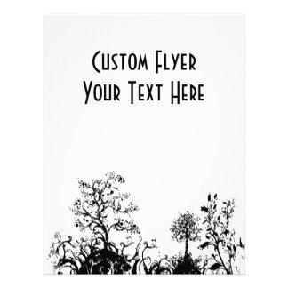 Black & White Swirly Landscape Trees Fruit Hills Custom Flyer