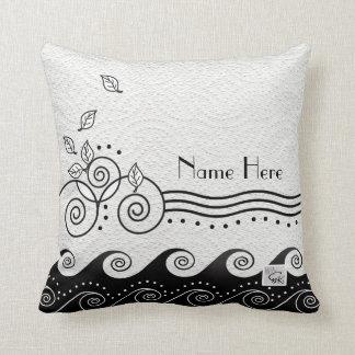 Black & White Swirly, Wavy Sea Cushion