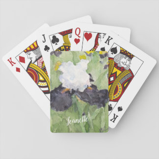 Black White Tall Bearded Iris Playing Cards