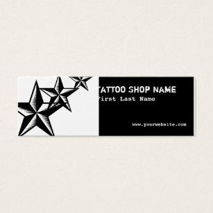 Tattoo star business cards business card printing zazzle black white tattoo stars skinny business cards reheart Choice Image