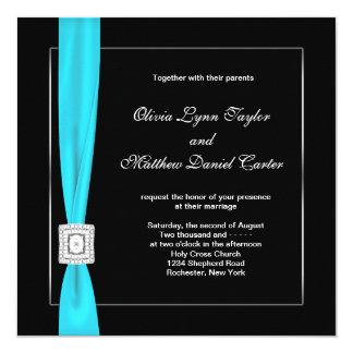 Black White Teal Blue Teal Bow Wedding 13 Cm X 13 Cm Square Invitation Card