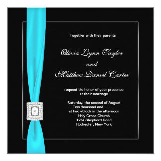 Black White Teal Blue Teal Bow Wedding Personalised Announcements