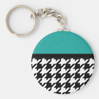 Black & White Teal Houndstooth Basic Round Button Key Ring