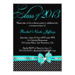 Black White Teal Polka Dot Graduation Invitation 13 Cm X 18 Cm Invitation Card