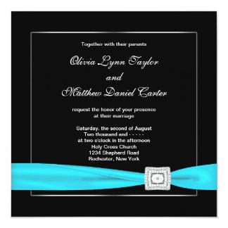 "Black White Teal Silve Wedding 5.25"" Square Invitation Card"