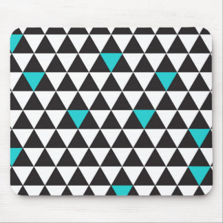 Black White Teal Turquoise Geometric Triangles Mouse Pad