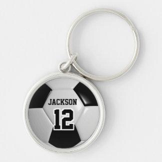 Black & White Team Soccer Ball Key Ring