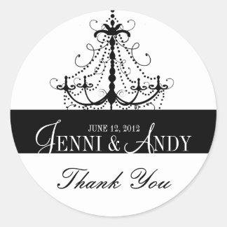 Black White Thank You Chandelier Wedding Sickers Sticker