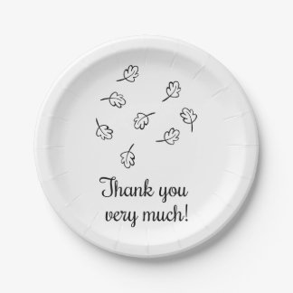 Black & White Thank You  Country Leaves Wedding Paper Plate