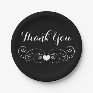 Black & White Thank You Love Heart Wedding Party 7 Inch Paper Plate