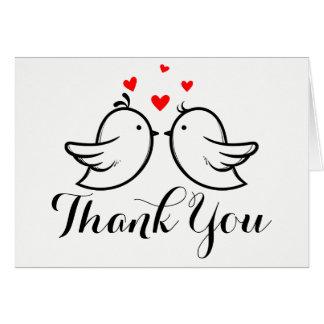 Black & White Thank You Lovebirds - Wedding Card