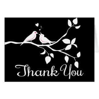 Black & White Thank You Lovebirds Wedding Party Card