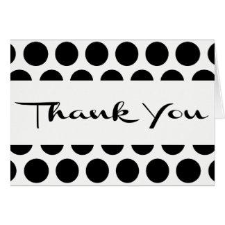 Black & White Thank You Polka Dots - Wedding Party Card