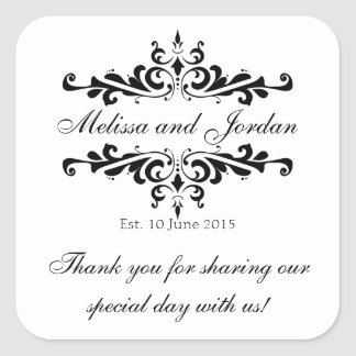 Black White Thank You Sticker for Wedding Favors