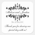 Black White Thank You Sticker for Wedding Favours