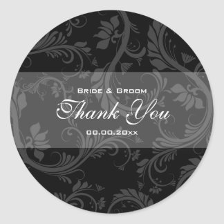 "Black white ""thank you"" wedding classic round sticker"