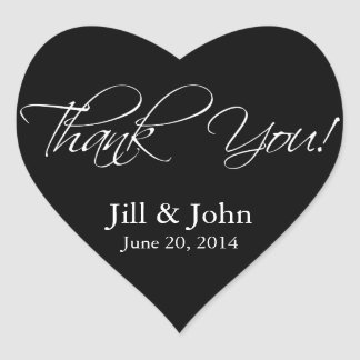 Black White Thank You Wedding Favor Stickers