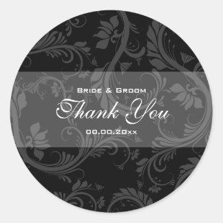 "Black white ""thank you"" wedding round sticker"
