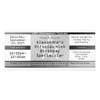 Black/White Ticket Style Invitation or Ticket Full Color Rack Card