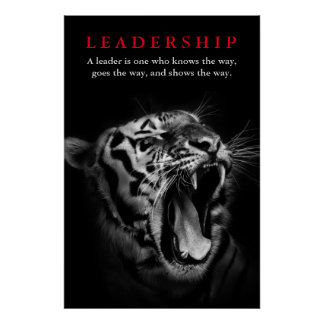 Black & White Tiger Leadership Motivational Poster