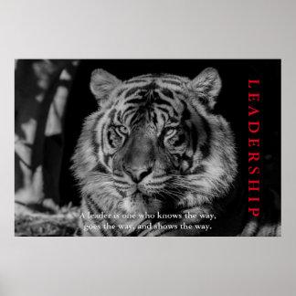 Black & White Tiger Leadership Motivational Poster