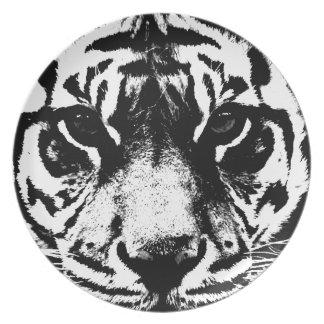 Black White Tiger Dinner Plates