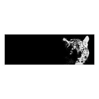 Black & White Tiger Pop Art Poster